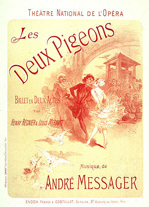 Les Deux Pigeons (ballet) - Jules Chéret's poster for the two-act production