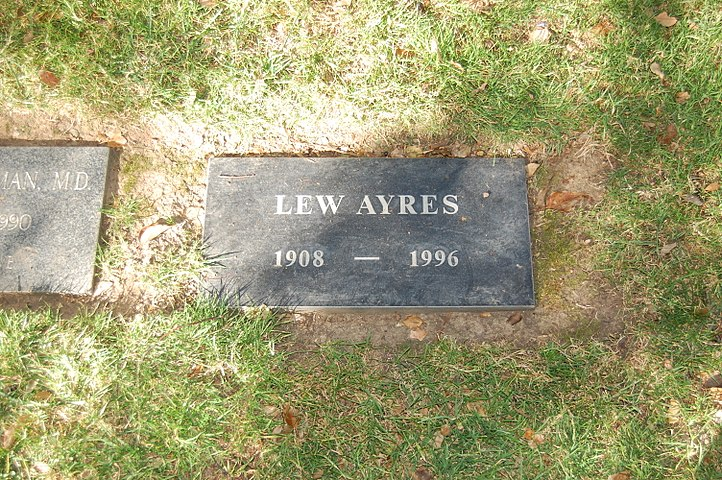 Lew Ayres grave at Westwood Village Memorial Park Cemetery in Brentwood, California.JPG