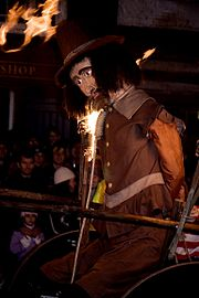 Effigy of Guy Fawkes, being paraded as part of the by the Cliffe Bonfire Society Bonfire Night rituals in Lewes, Sussex.