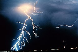 Lightning strikes during a night-time thunderstorm. Energy is radiated as light when powerful electric currents flow through the Earth's atmosphere.