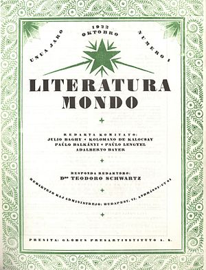 Literatura Mondo - Cover page of the first issue