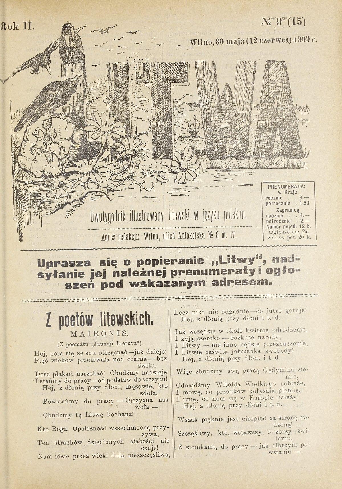 Filelitwa Miesięcznik Ilustrowany Litewski W Języku