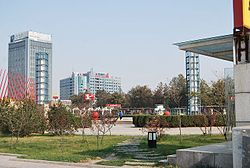 Views of Liuquan Square in downtown Zichuan District