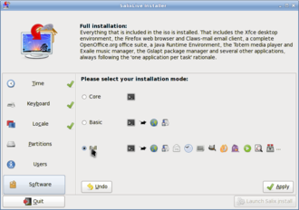 Salix OS - Live installer, package mode settings.