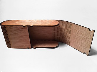 Living hinge - A laser cut plywood box with two living hinges