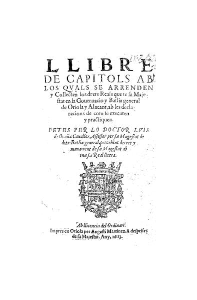 File:Llibre de capítols d'Oriola i Alacant (1613).djvu
