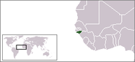 A map showing the location of Guinea-Bissau