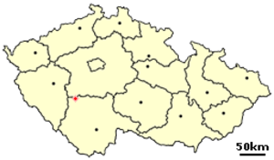 Lety concentration camp - Location of Lety in the Czech Republic, south of Prague and north of České Budějovice