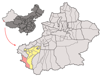 Taxkorgan Tajik Autonomous County - Image: Location of Taxkorgan within Xinjiang (China)