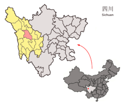 Location of Xinlong County (red) within Garzê Prefecture (yellow) and Sichuan