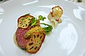 Loin steak, chrysanthemum chimichurri, lotus root purée, and lotus root crisps.jpg