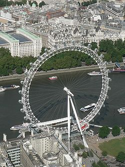 An aerial view of the London Eye