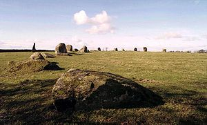 Long Meg and Her Daughters - The southern arc of the circle and the monolith, viewed from the east