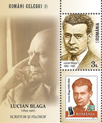Lucian Blaga - Blaga on a 2018 stamp sheet of Romania