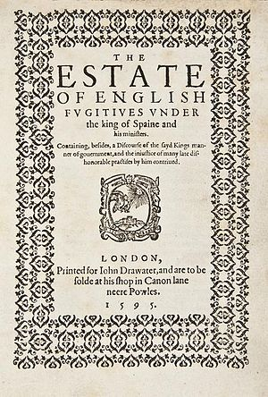 Lewes Lewknor - The title page of The Estate of English Fugitives, 1595.