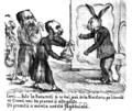 M. B. Baer - Dute la Bucurestĭ și se daĭ josŭ de la Ministeriu pe liberalŭ că'țĭ vomŭ maĭ da pe urmă și alte găște, Ghimpele, 28 nov 1867.png