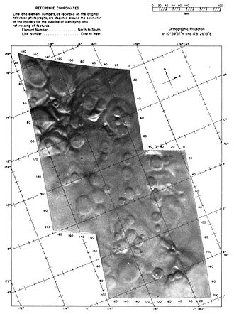 Mars flyby - This shows two of the frames from the Mariner 4 flyby projected over a grid