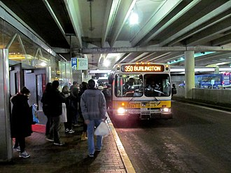 Alewife station - A route 350 bus boarding at Alewife in 2017