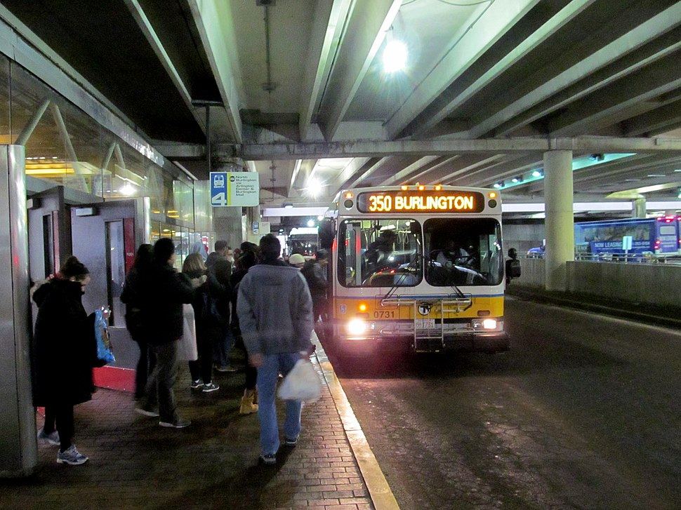 MBTA route 350 bus at Alewife station, March 2017