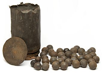 Artillery shot-canister for a 12-pounder cannon from the Civil War era. From the collection of the Minnesota Historical Society.