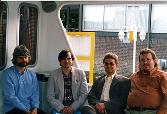 Association for Skeptical Enquiry - Spencer, Heap, French and O'Leary on a boat trip in Maastricht during the 9th European Skeptics Congress in 1999.