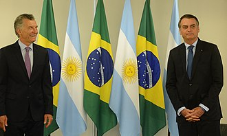 Argentina–Brazil relations - Argentinian President Mauricio Macri with Brazilian President Jair Bolsonaro in the Palácio do Planalto, January 2019.
