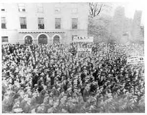 Macroom - c. 1894 mass meeting, organised by the ILLA supported by small tenant farmers and agrarian labourers in the Market Square