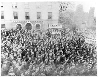 Irish Land and Labour Association - Mass rally of tenant farmers and labourers demonstrating under ILLA banners, Market Square, Macroom, Co. Cork, around 1894