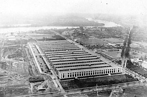 Main Navy and Munitions Buildings - Main Navy Building (foreground) and the Munitions Building were temporary structures built during World War I on the National Mall