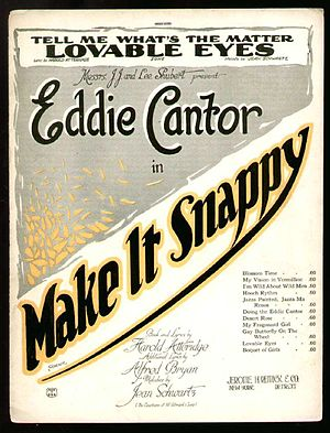 Make It Snappy - Cover of sheet music for the songs from the show