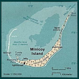 Minicoy - Map of Minicoy Atoll (Maliku)