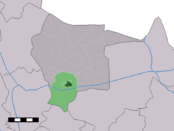 The town centre (dark green) and the statistical district (light green) of Albergen in the municipality of Tubbergen.