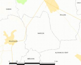 Margon, Hérault - Map