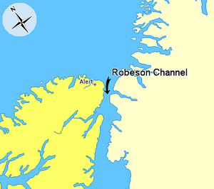 Map indicating Robeson Channel, Nunavut, Canada.png