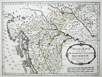 "Kingdom of Croatia (Habsburg) - Kingdom of Croatia (including the so-called Turkish Croatia /""Türkisch Kroatien""/, a green marked territory occupied by the Ottomans) on a 1791 map by Austrian cartographer Franz J.J. von Reilly"