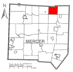 Location of Deer Creek Township in Mercer County