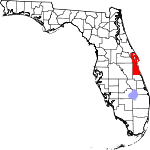 A state map highlighting Brevard County in the southeastern part of the state. It is medium in size and narrow in shape.