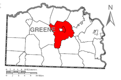 Location of Franklin Township in Greene County