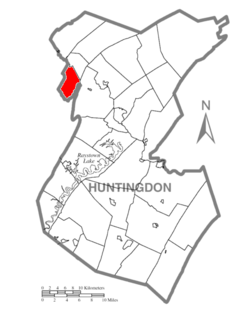 Map of Huntingdon County, Pennsylvania Highlighting Morris Township