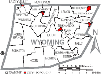 Wyoming County, Pennsylvania - Map of Wyoming County, Pennsylvania with Municipal Labels showing Boroughs (red) and Townships (white).