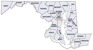 Western Maryland - An enlargeable map of the 23 counties and 1 independent city of the State of Maryland