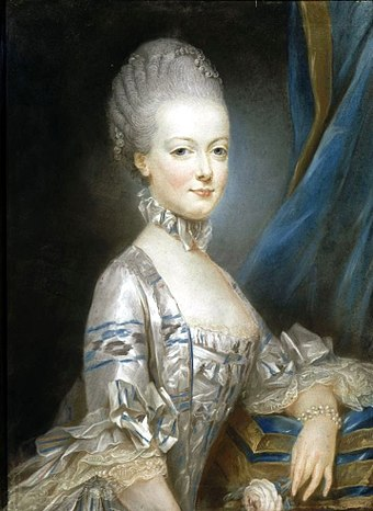 Marie Antoinette at the age of thirteen; this miniature portrait was sent to the Dauphin to show him what his future bride looked like (by Joseph Ducreux, 1769) Marie Antoinette by Joseph Ducreux.jpg