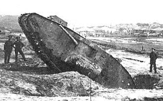 British heavy tanks of World War I - Mark III tank in a ditch, in 1917