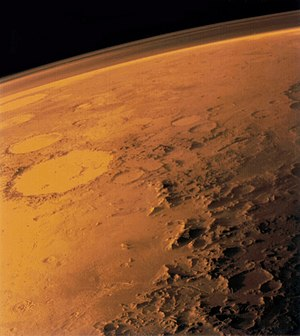 Extraterrestrial atmosphere - The tenuous atmosphere of Mars visible on the horizon.
