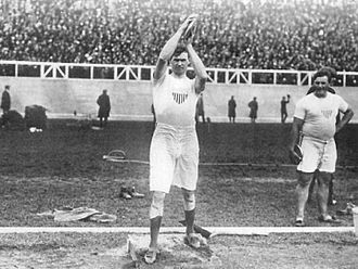 Martin Sheridan - Martin Sheridan preparing to win the discus event at the 1908 Olympic Games in London.