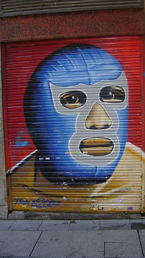 Wrestling mask - A wrestling mask mural in Madrid, Spain.