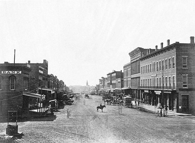 Massachusetts Avenue, Lawrence, Kansas, 38 miles west of Missouri River. (Boston Public Library) (cropped)