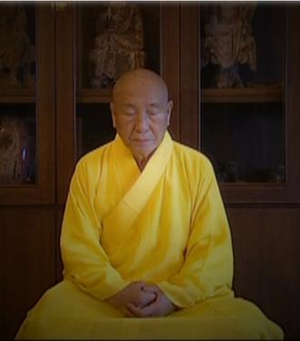 Linji school - Traditional Chan Buddhist Grand Master Wei Chueh in Taiwan, sitting in meditation.