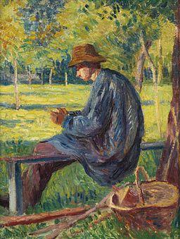 Maximilien Luce - Ludovic Rodo Pissarro dans le Jardin de son père à Eragny (1895)