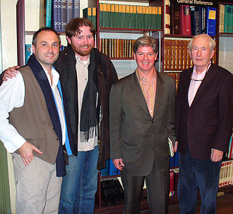 Colum McCann - McCann, Christy Kelly, Christopher Cahill and Frank McCourt at New York City's Housing Works bookstore for a tribute to the then-recently deceased Irish poet Benedict Kiely